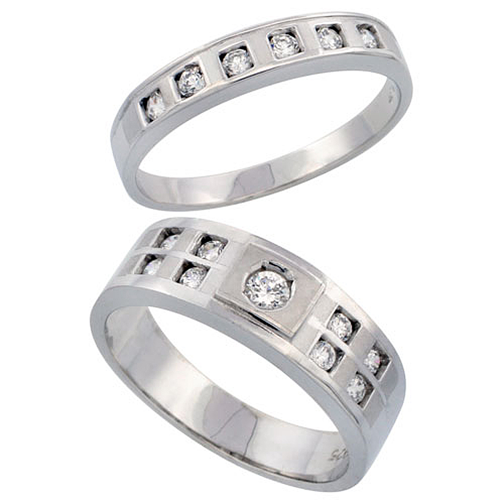 Sterling Silver 2-Piece His 7 mm & Hers 4 mm Wedding Ring Set CZ Stones Rhodium Finish, Ladies sizes 5 - 10, Mens sizes 8 - 14