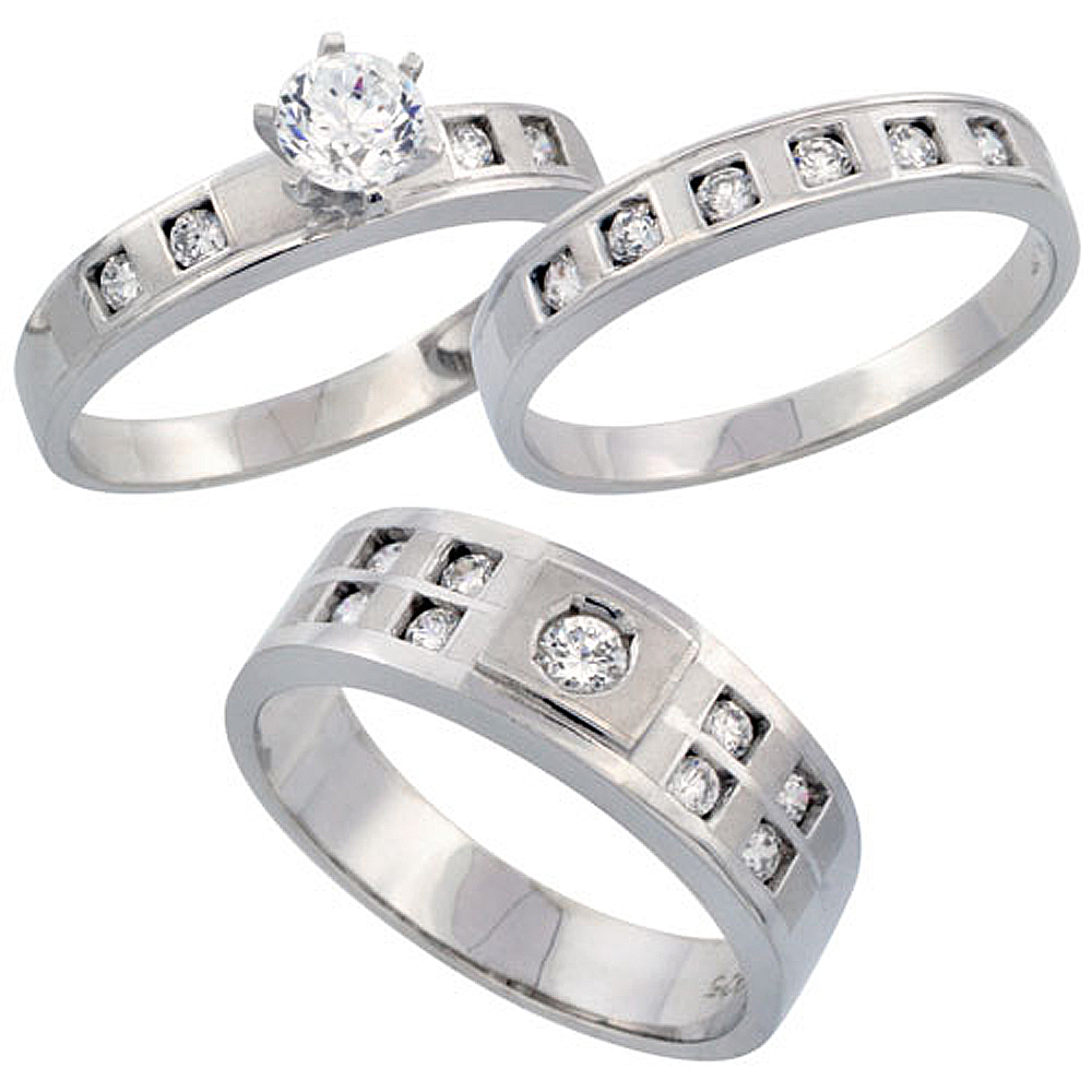 Sterling Silver 3-Piece His 7 mm & Hers 4 mm Trio Wedding Ring Set CZ Stones Rhodium Finish, Ladies sizes 5 - 10, Mens sizes 8 - 14