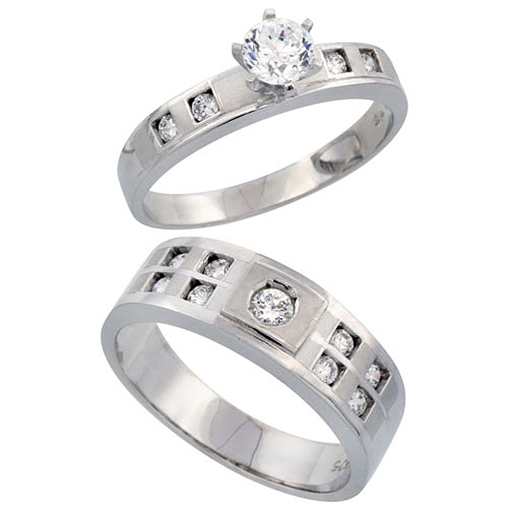 Sterling Silver 2-Piece His 7mm & Her 4mm Engagement Ring Set CZ Stones Rhodium finish, Ladies sizes 5 - 10, Mens sizes 8 - 14