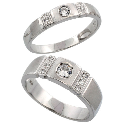 Sterling Silver 2-Piece His (7 mm) & Hers (4 mm) CZ Wedding Ring Band Set; (Ladies Size 5 to10; Men's Size 8 to 14)