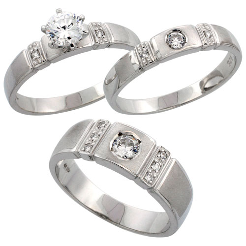 Sterling Silver 3-Piece Trio His (7 mm) & Hers (4 mm) CZ Wedding Ring Band Set; (Ladies Size 5 to10; Men's Size 8 to 14)