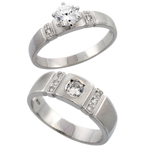 Sterling Silver 2-Piece CZ Ring Set ( 4mm Engagement Ring & 7mm Man's Wedding Band )