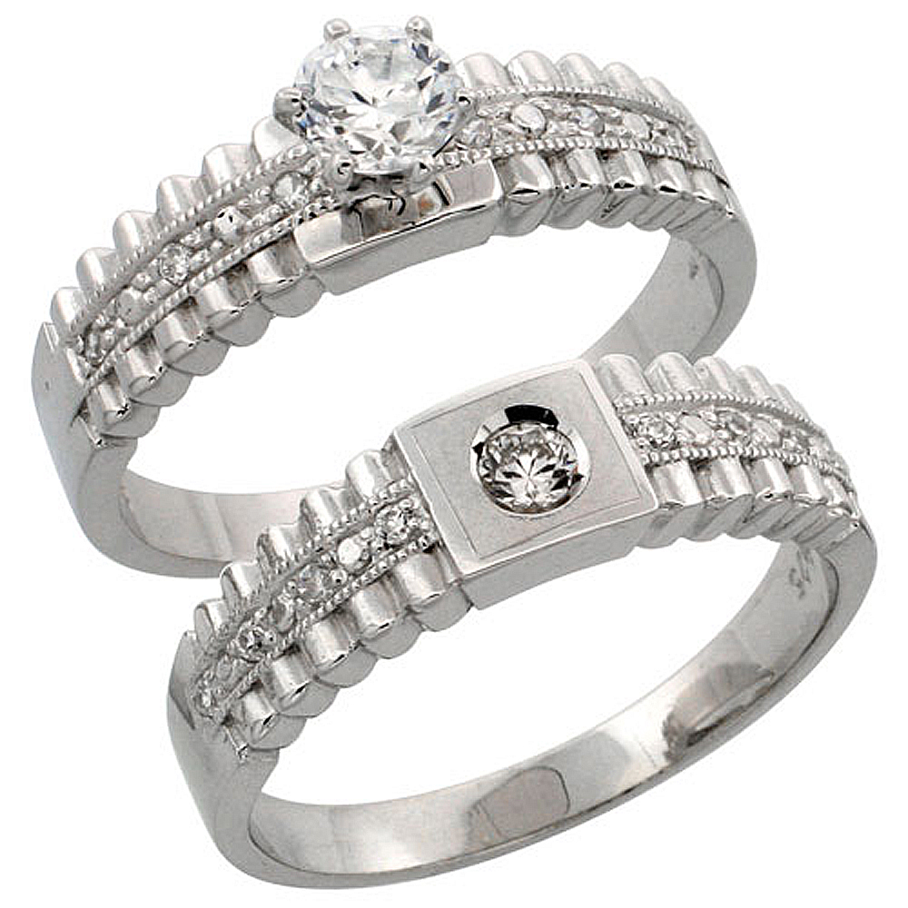 Sterling Silver 2-Piece Engagement Ring Set CZ Stones Rhodium finish, 1/4 in. 6 mm, sizes 5 - 10