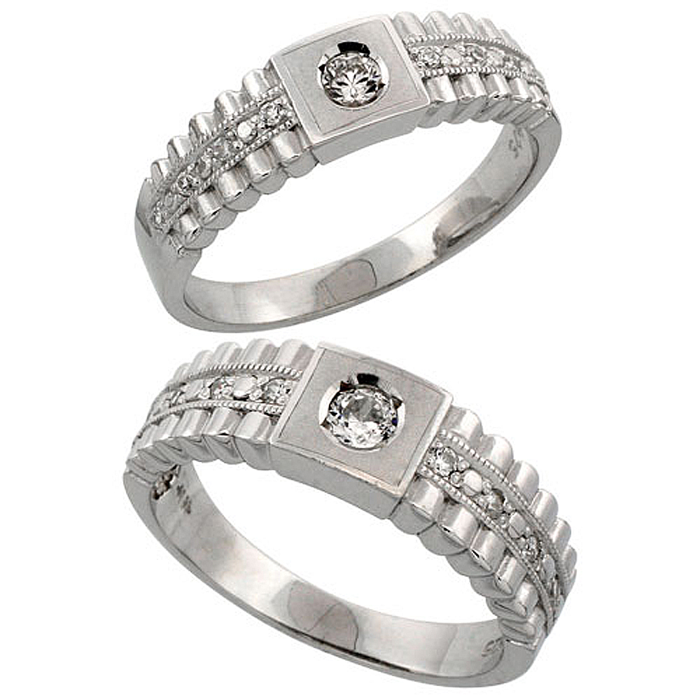 Sterling Silver 2-Piece His 6.5 mm & Hers 6 mm Wedding Ring Set CZ Stones Rhodium Finish, Ladies sizes 5 - 10, Mens sizes 8 - 14