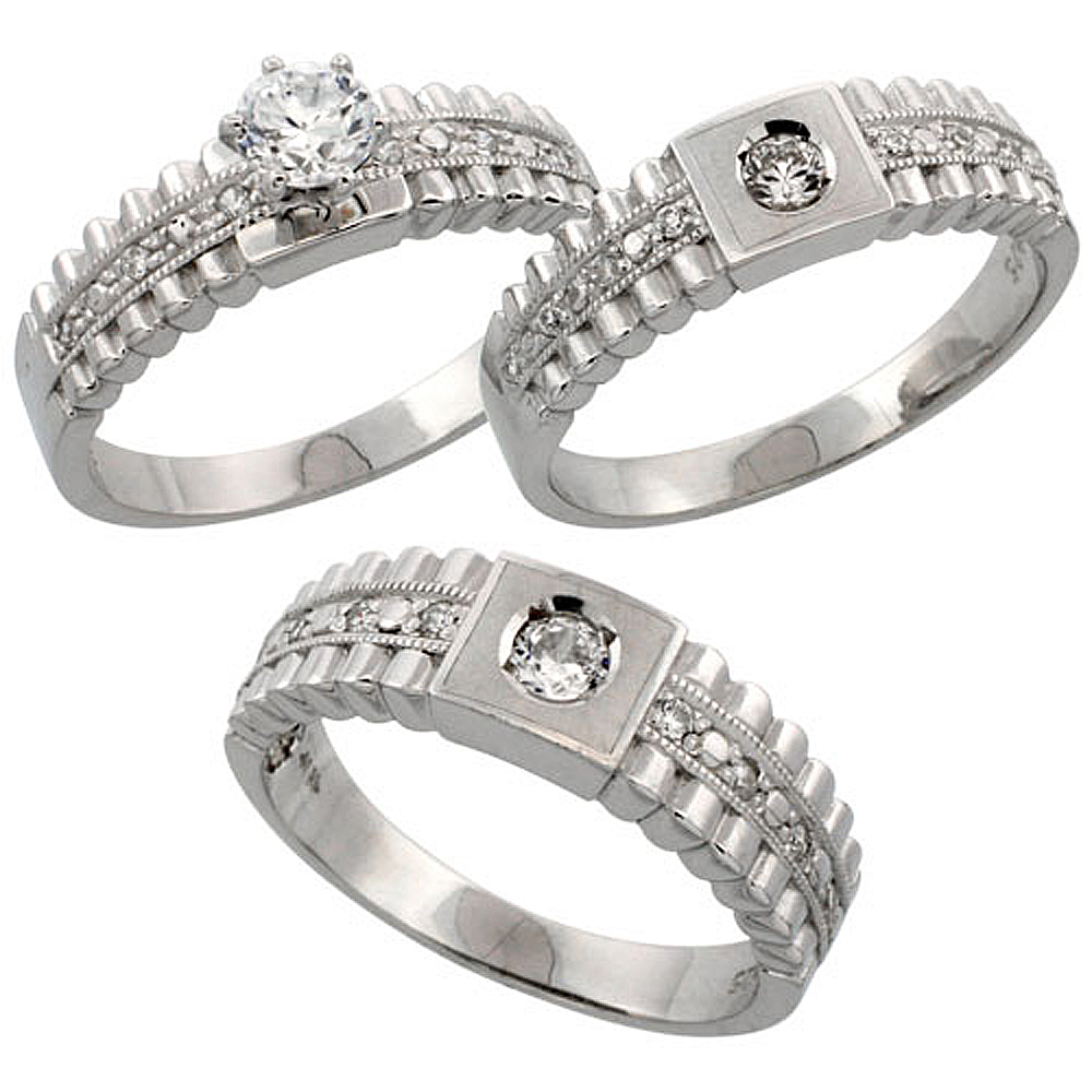 Sterling Silver 3 Piece His 6 5 Mm Hers Trio Wedding Ring Set