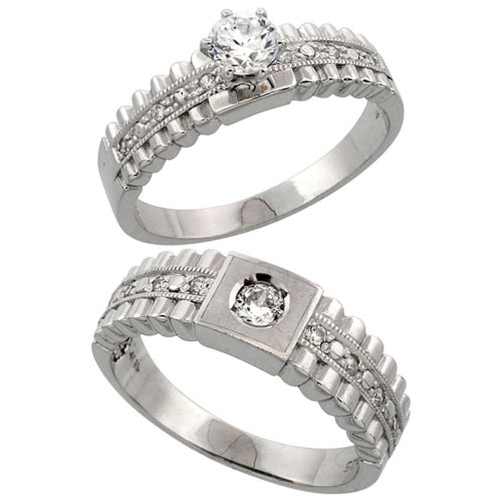 Sterling Silver 2-Piece CZ Ring Set 6mm Engagement Ring & 6.5mm Man's Wedding Band, Ladies sizes 5 - 10, Mens sizes 8 - 14