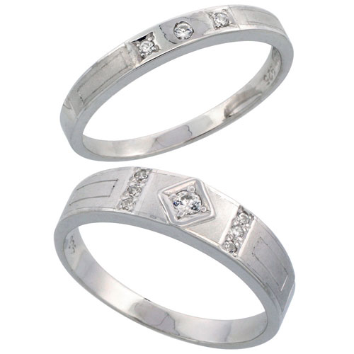 Sterling Silver 2-Piece His (5.5 mm) & Hers (3 mm) CZ Wedding Ring Band Set; (Ladies Size 5 to10; Men's Size 8 to 14)