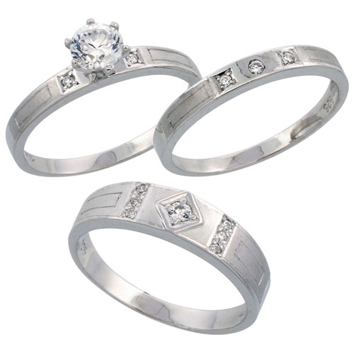Sterling Silver 3-Piece Trio His (5.5 mm) & Hers (3 mm) CZ Wedding Ring Band Set; (Ladies Size 5 to10; Men's Size 8 to 14)