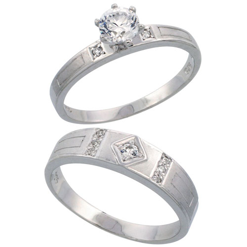 Sterling Silver 2-Piece CZ Ring Set ( 3mm Engagement Ring & 5.5mm Man's Wedding Band )