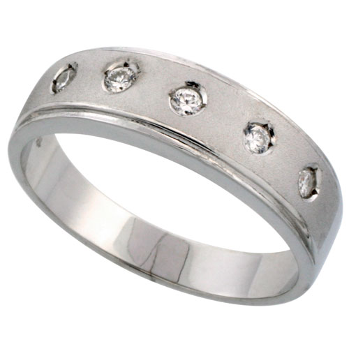 Sterling Silver Men's CZ Wedding Ring Band, 1/4 in. (6 mm) wide