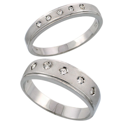 Sterling Silver 2-Piece His (6 mm) & Hers (4 mm) CZ Wedding Ring Band Set; (Ladies Size 5 to10; Men's Size 8 to 14)