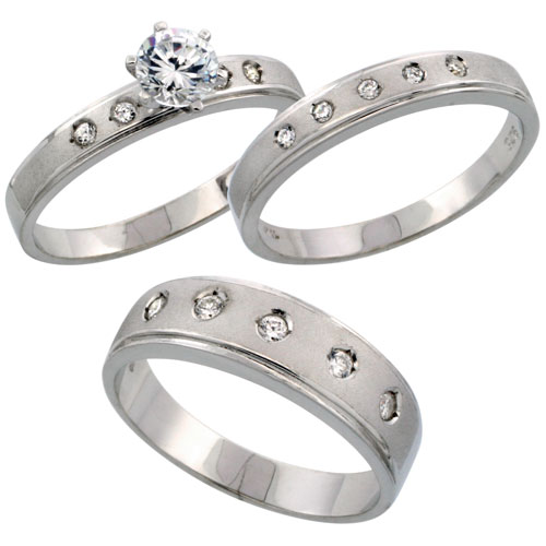 Sterling Silver 3-Piece Trio His (6 mm) & Hers (4 mm) CZ Wedding Ring Band Set; (Ladies Size 5 to10; Men's Size 8 to 14)