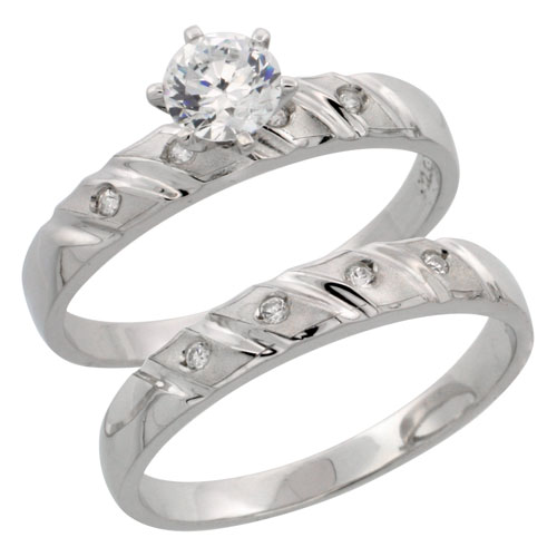 Sterling Silver 2-Piece CZ Engagement Ring Set, 5/32 in. (4 mm) wide