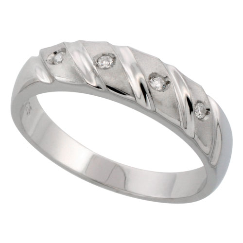 Sterling Silver Men's CZ Wedding Ring Band, 7/32 in. (5.5 mm) wide