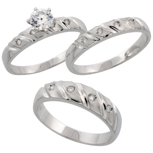 Sterling Silver 3-Piece Trio His (5.5 mm) & Hers (4 mm) CZ Wedding Ring Band Set; (Ladies Size 5 to10; Men's Size 8 to 14)
