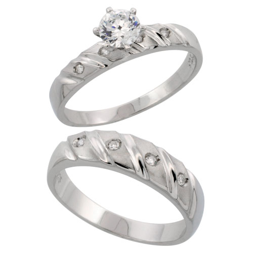 Sterling Silver 2-Piece CZ Ring Set ( 4mm Engagement Ring & 5.5mm Man's Wedding Band )