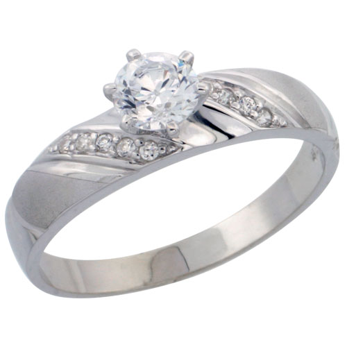 Sterling Silver Solitaire CZ Engagement Ring, 3/16 in. (5 mm) wide