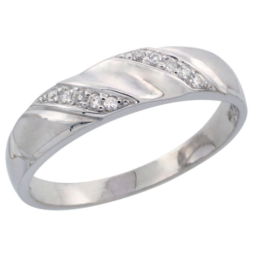 Sterling Silver Ladies' CZ Wedding Ring Band, 3/16 in. (5 mm) wide