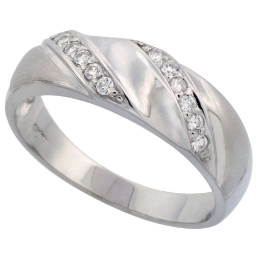 Sterling Silver Men's CZ Wedding Ring Band, 9/32 in. (7 mm) wide