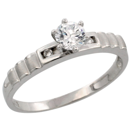 Sterling Silver Solitaire CZ Engagement Ring, 5/32 in. (3.5 mm) wide