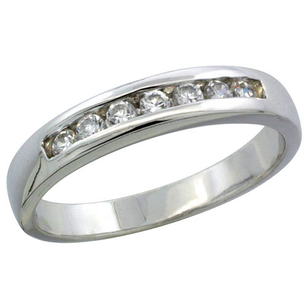 Sterling Silver Cubic Zirconia Ladies' Wedding Band Ring Classic Channel Set, 1/8 inch wide
