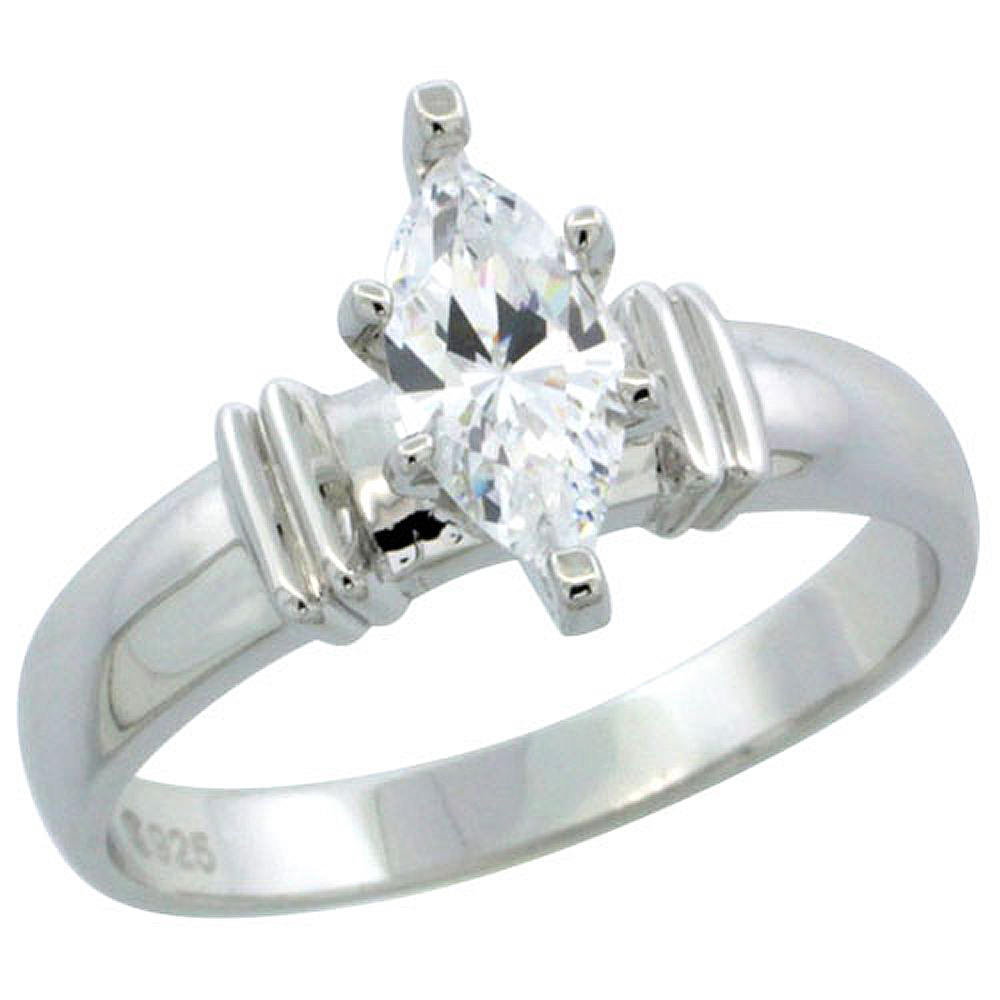 Sterling Silver Cubic Zirconia Solitaire Engagement Ring 3/4 ct Marquise, 3/16 inch wide