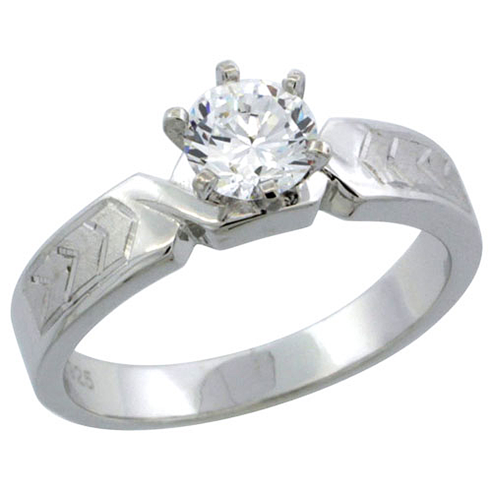 Sterling Silver Cubic Zirconia Solitaire Engagement Ring 1 ct size Brilliant cut Chevron Pattern, 3/16 inch wide