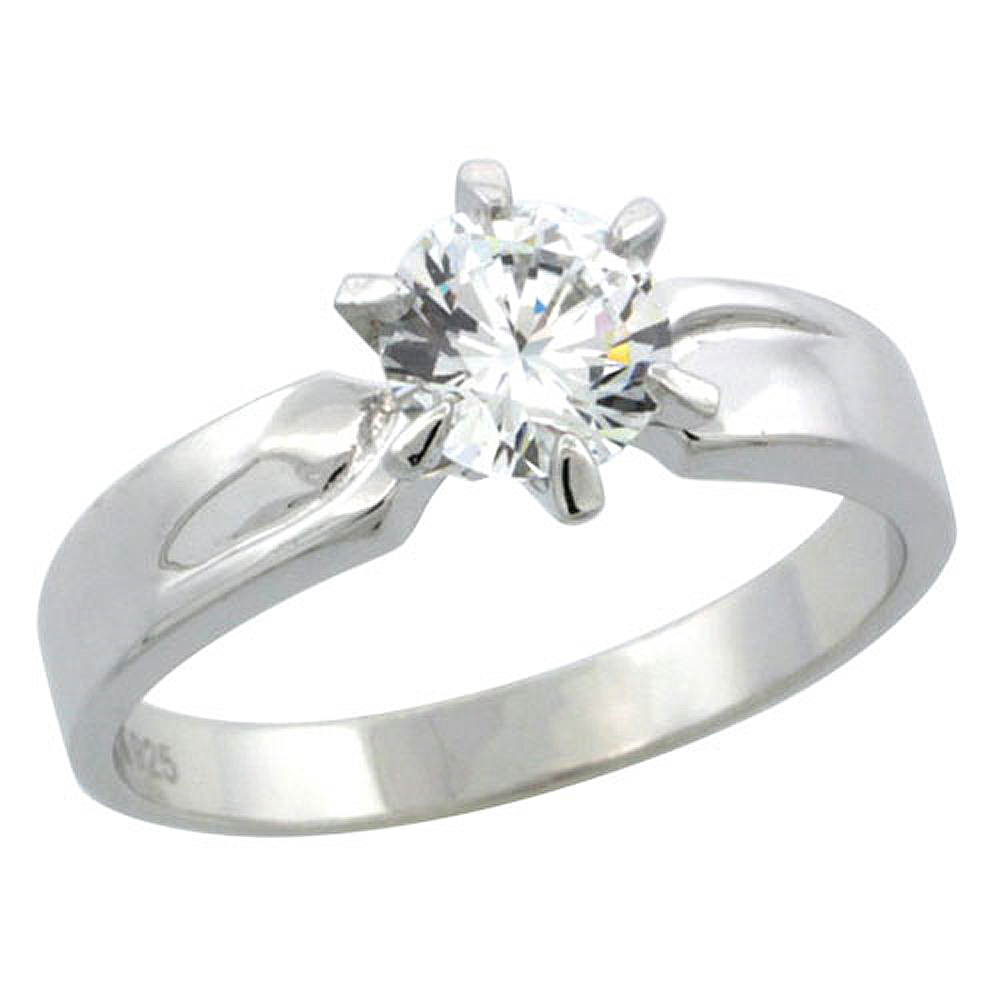Sterling Silver Cubic Zirconia Solitaire Engagement Ring 1 ct size Brilliant cut, 5/32 inch wide