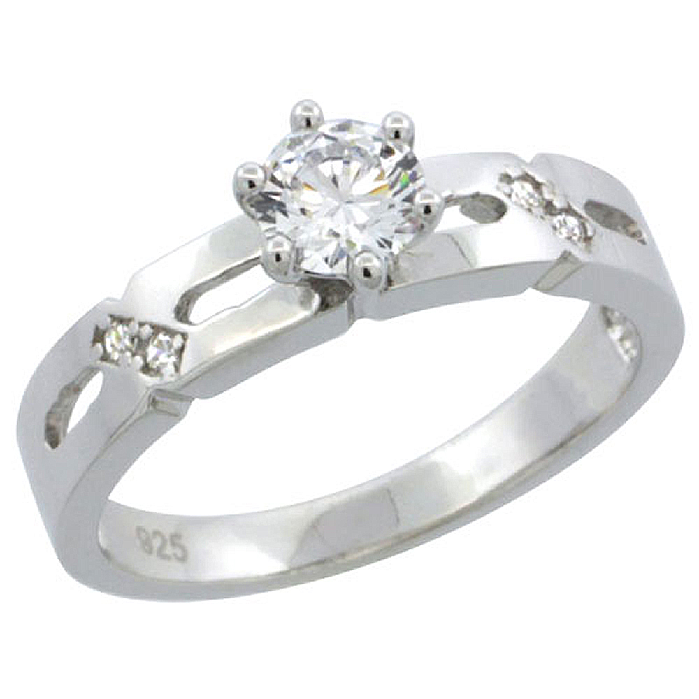 Sterling Silver Cubic Zirconia Solitaire Engagement Ring 1/2 ct size Brilliant cut, 5/32 inch wide