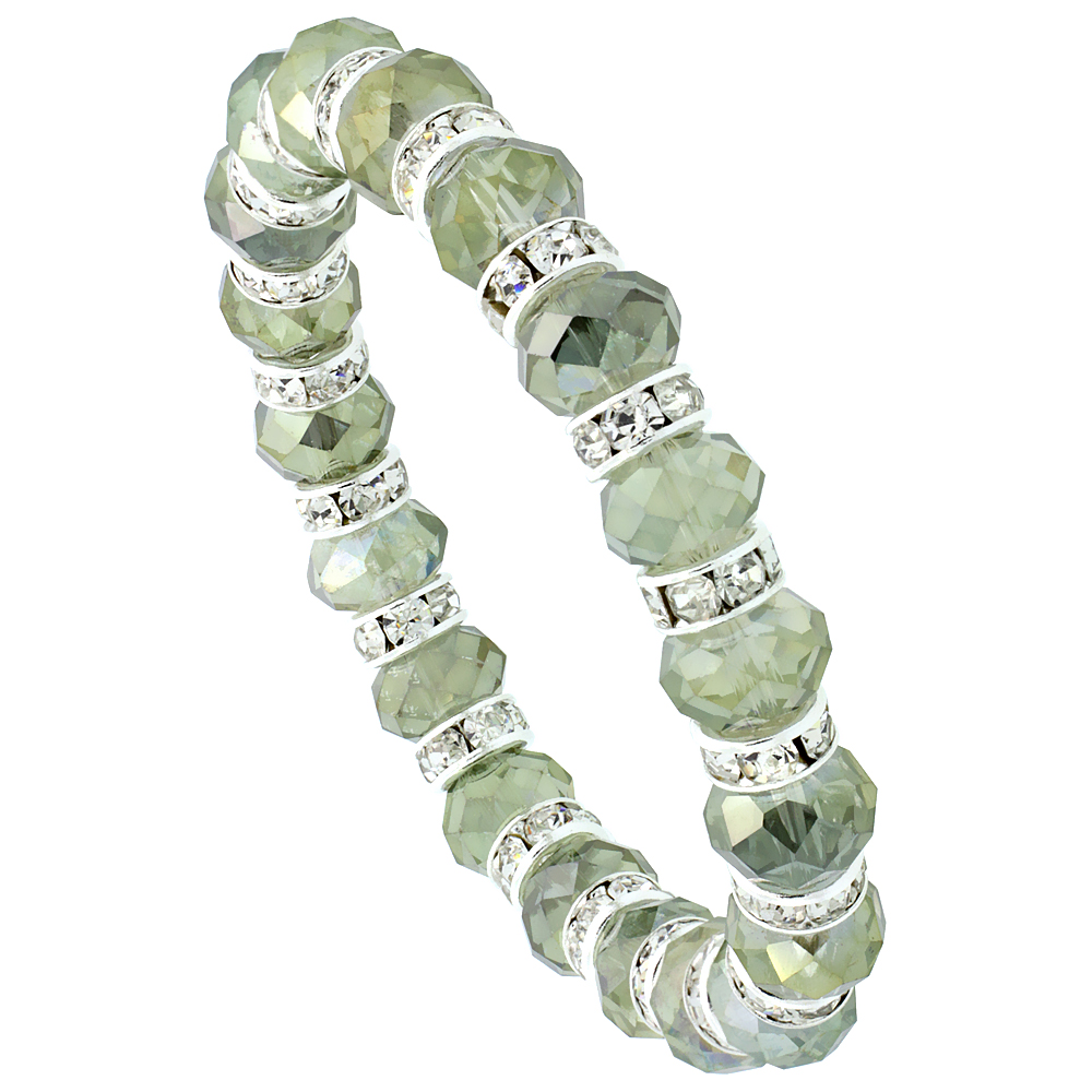 Olivine Crystal Beads, Faceted, Stretch Bracelet W/ Cubic Zirconia Stones, 7 inch long