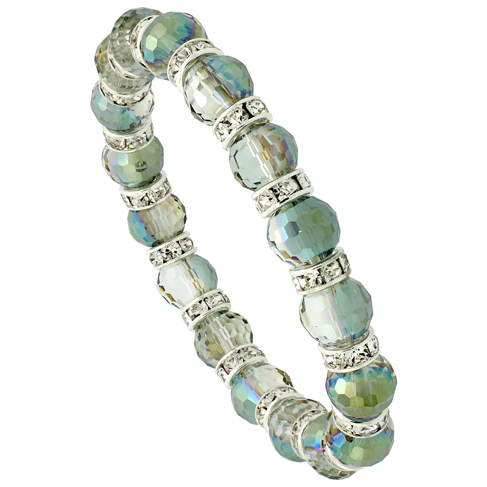 Lime Champagne Crystal Beads, Faceted, Stretch Bracelet W/ Cubic Zirconia Stones, 7 inch long