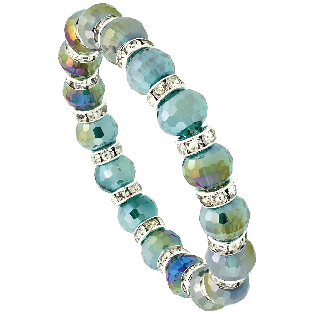 Fern Green Crystal Beads, Faceted, Stretch Bracelet W/ Cubic Zirconia Stones, 7 inch long