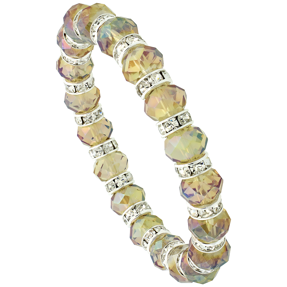 Mosaic Sand Crystal Beads, Faceted, Stretch Bracelet W/ Cubic Zirconia Stones, 7 inch long