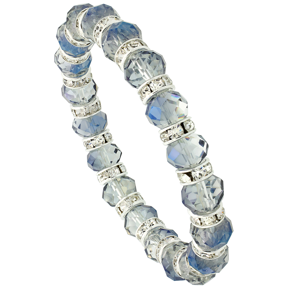 Indian Sapphire Faceted Crystal Beads Stretch Bracelet W/ Cubic Zirconia Stones, 7 inch long