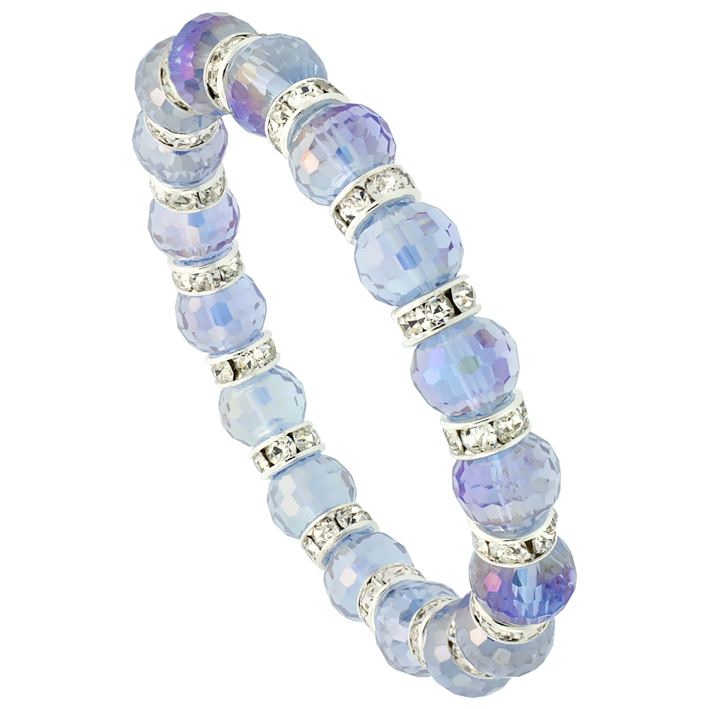 Montana Faceted Crystal Beads Stretch Bracelet W/ Cubic Zirconia Stones, 7 inch long