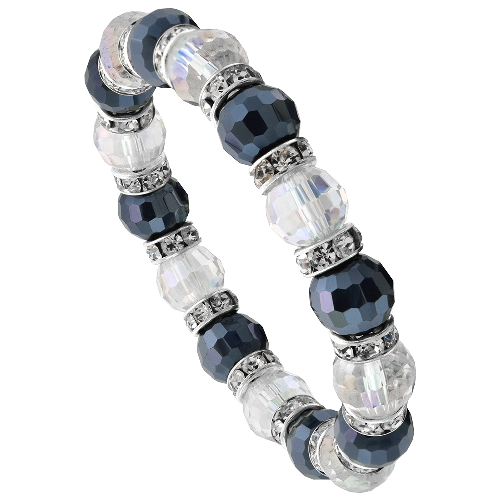 Black & Clear Crystal Beads, Faceted, Stretch Bracelet W/ Cubic Zirconia Stones, 7 inch long