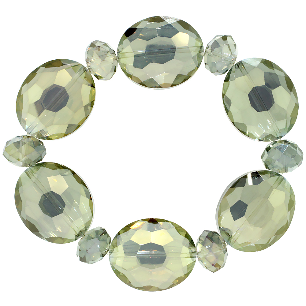 Olivine Oval & Round Faceted Crystal Beads Stretch Bracelet, 7 inch long