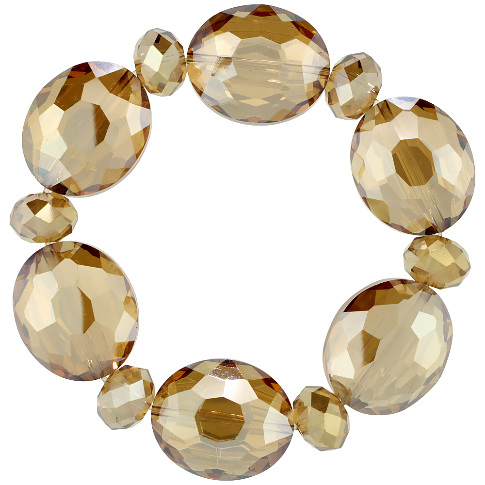 Topaz Oval & Round Faceted Crystal Beads Stretch Bracelet, 7 inch long