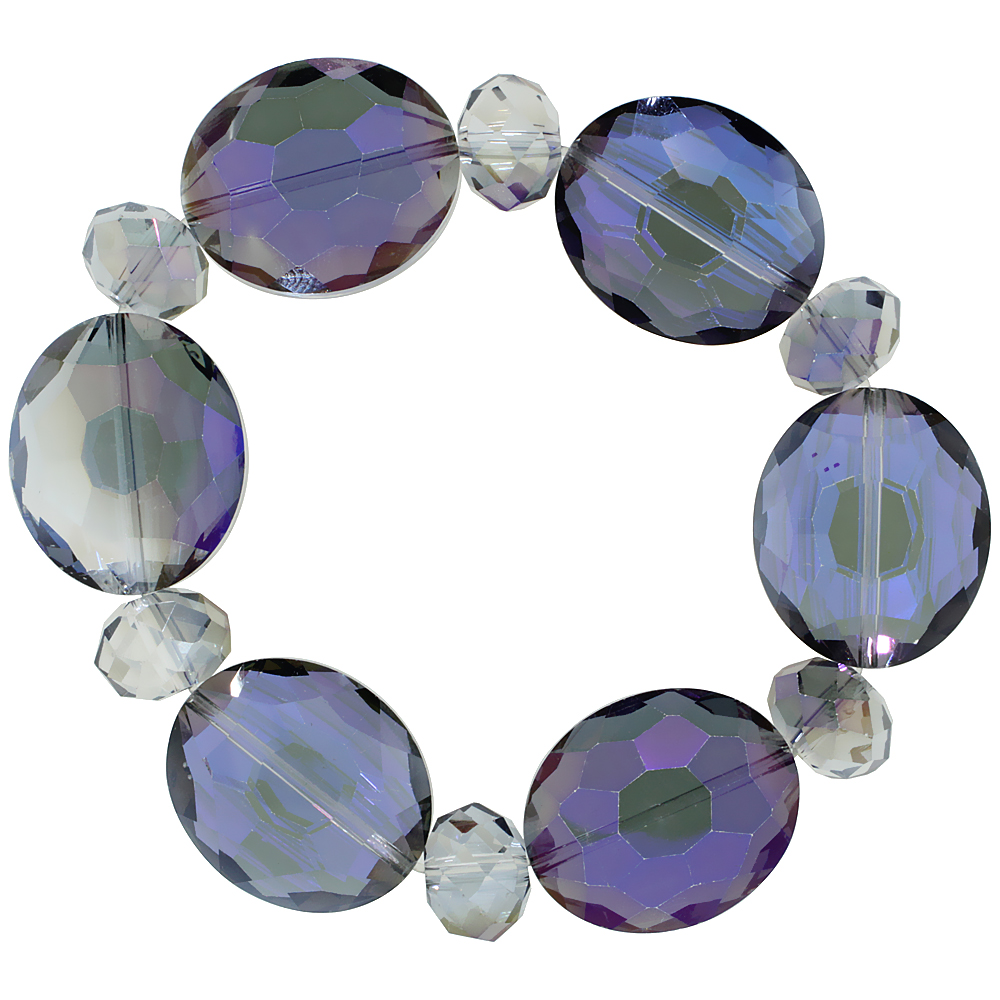 Glacier Blue Oval & Round Faceted Crystal Beads Stretch Bracelet, 7 inch long