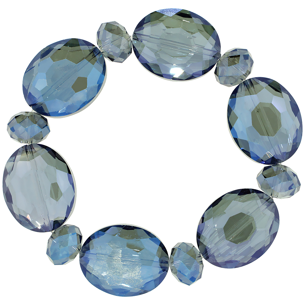 Indicolite Oval & Round Faceted Crystal Beads Stretch Bracelet, 7 inch long