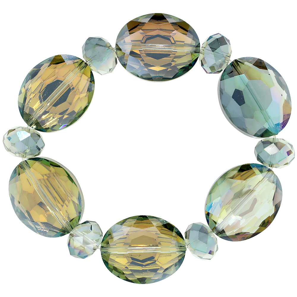 Fern Green Oval & Round Faceted Crystal Beads Stretch Bracelet, 7 inch long