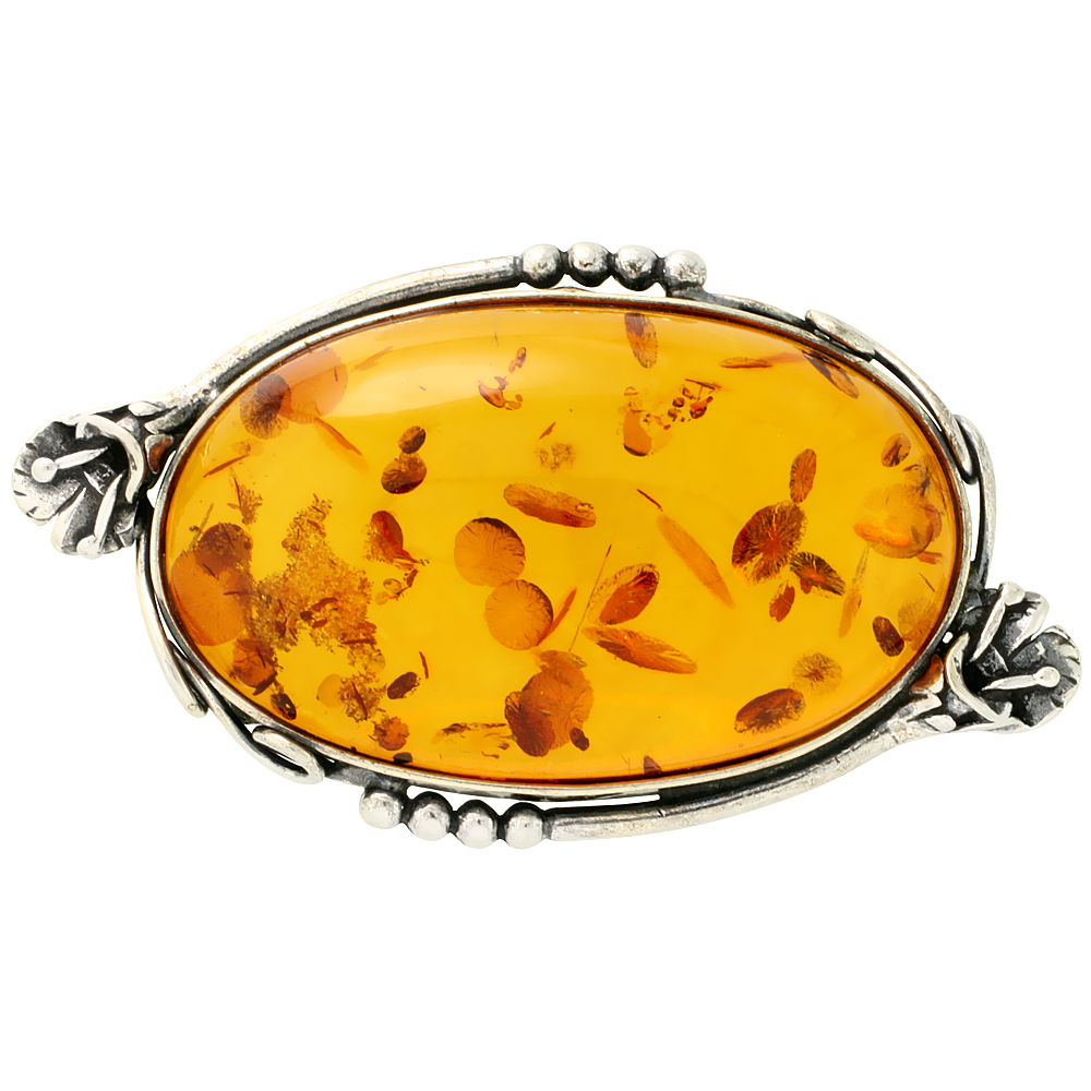 Sterling Silver Large Oval Russian Baltic Amber Brooch Pin with Flower Accents, 2 1/4 inch wide