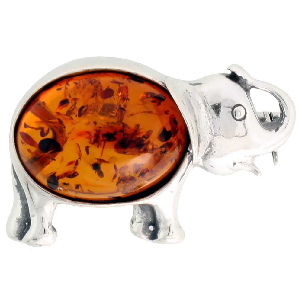 Sterling Silver Elephant Russian Baltic Amber Brooch Pin, 1 1/16 inch wide