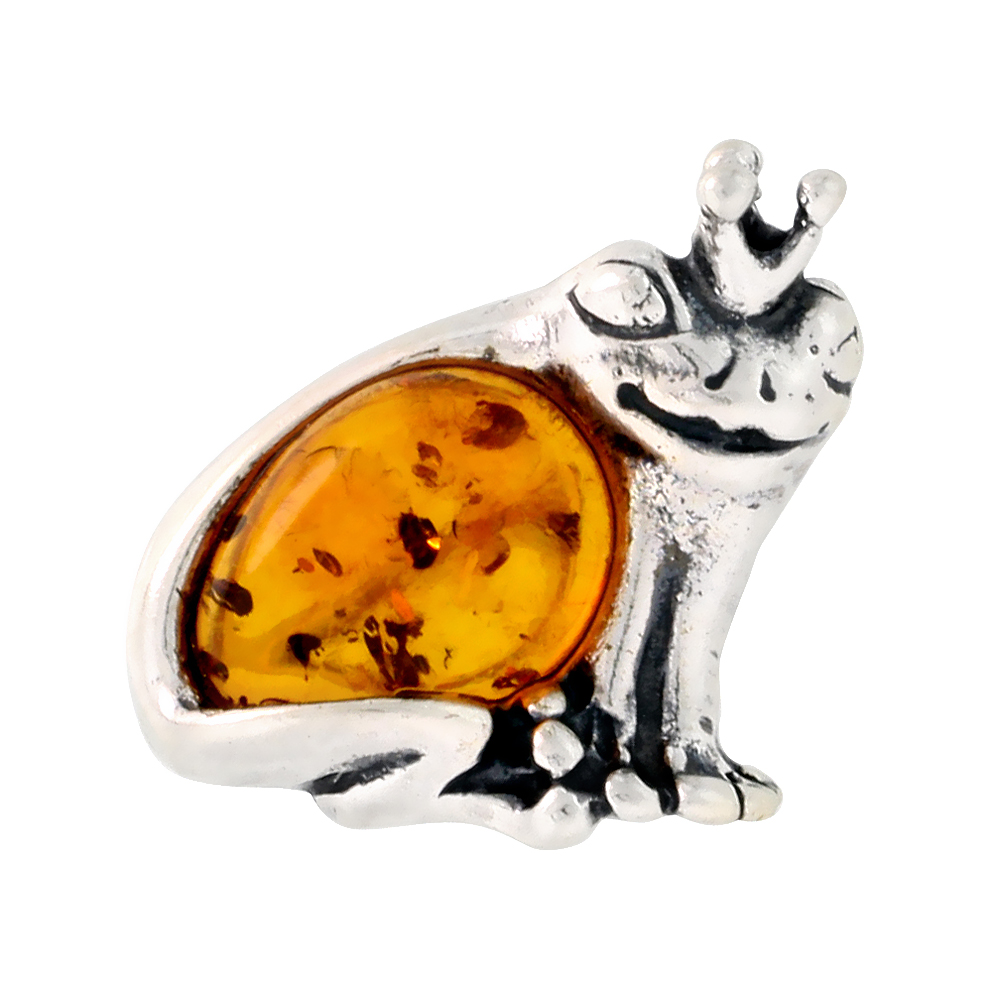 Sterling Silver Prince Frog Russian Baltic Amber Brooch Pin, 11/16 inch wide