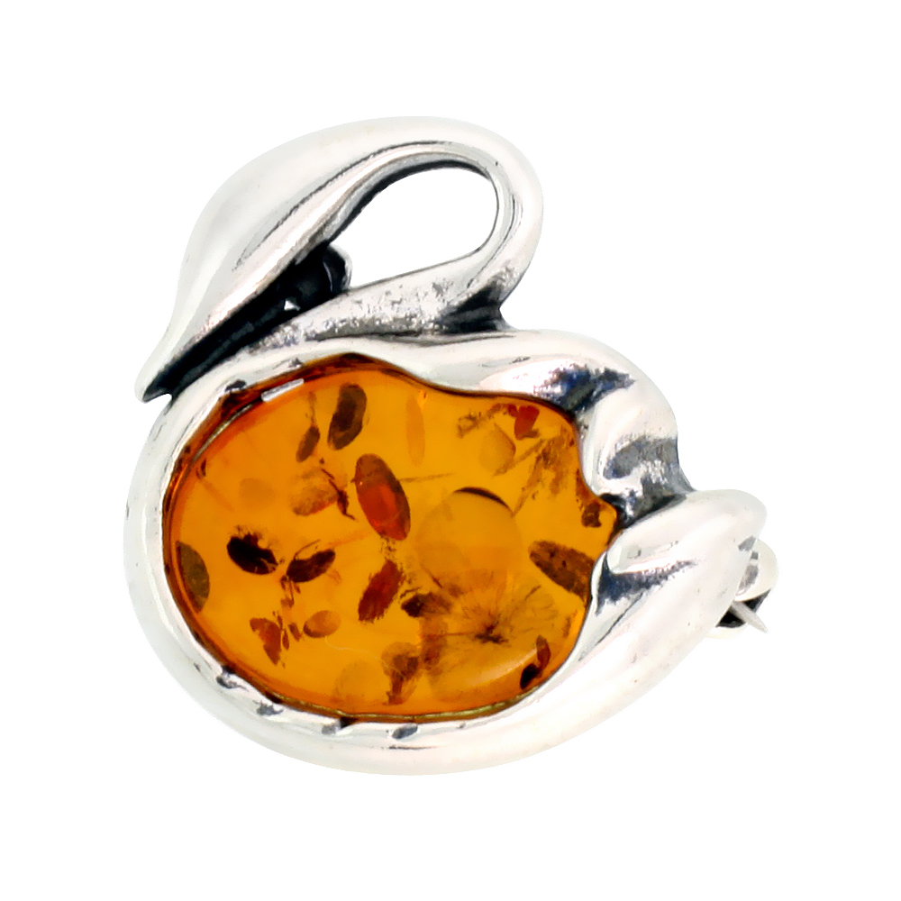 Sterling Silver Swan Russian Baltic Amber Brooch Pin, 13/16 inch wide