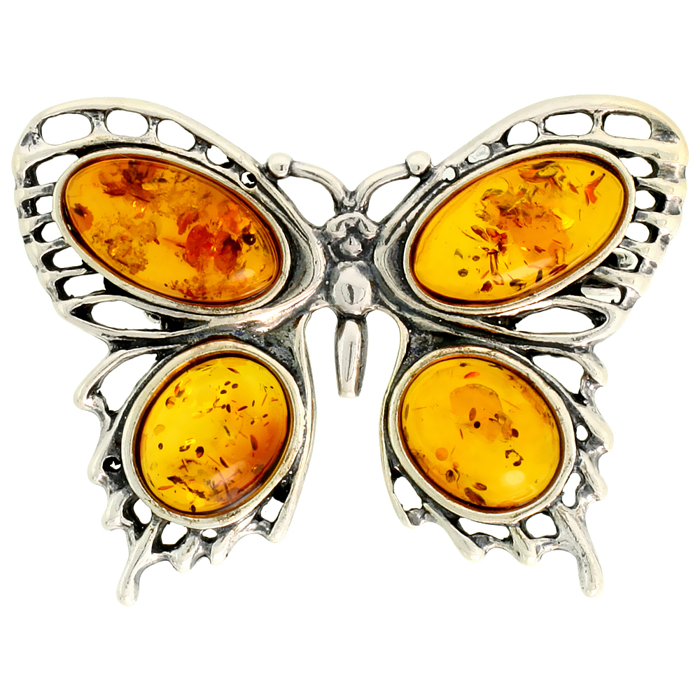 Sterling Silver Butterfly Russian Baltic Amber Brooch Pin, 1 9/16 inch wide