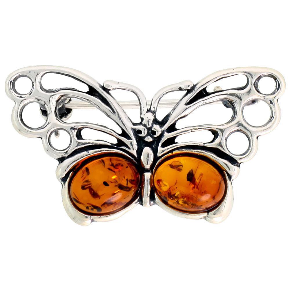 Sterling Silver Butterfly Russian Baltic Amber Brooch Pin, 1 1/4 inch wide