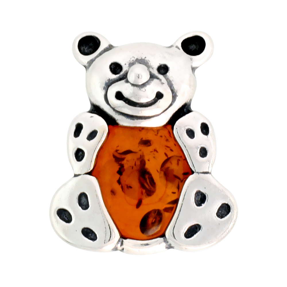 Sterling Silver Teddy Bear Russian Baltic Amber Brooch Pin, 15/16 inch wide