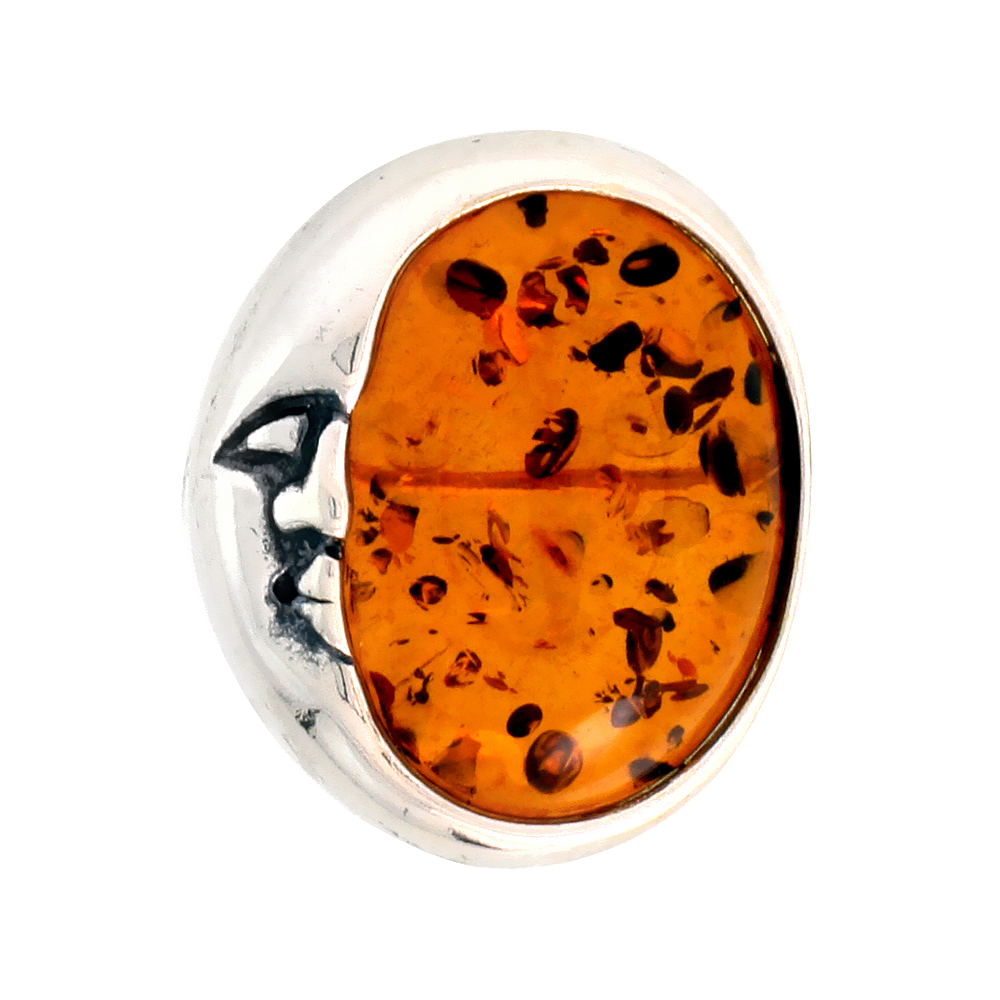 Sterling Silver Crescent Moon Russian Baltic Amber Brooch Pin, 13/16 inch wide