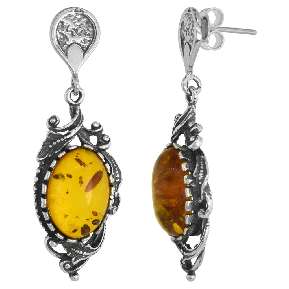 Sterling Silver Swirl Leaf Amber Dangle Earrings Oval, 9/16 inch wide